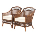 Pair of Bamboo and Wicker Patio Armchairs
