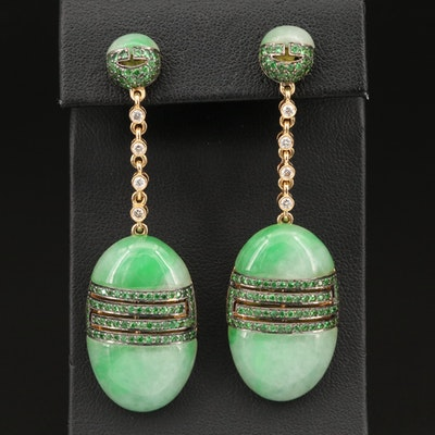 18K Jadeite, Tsavorite and Diamond Earrings