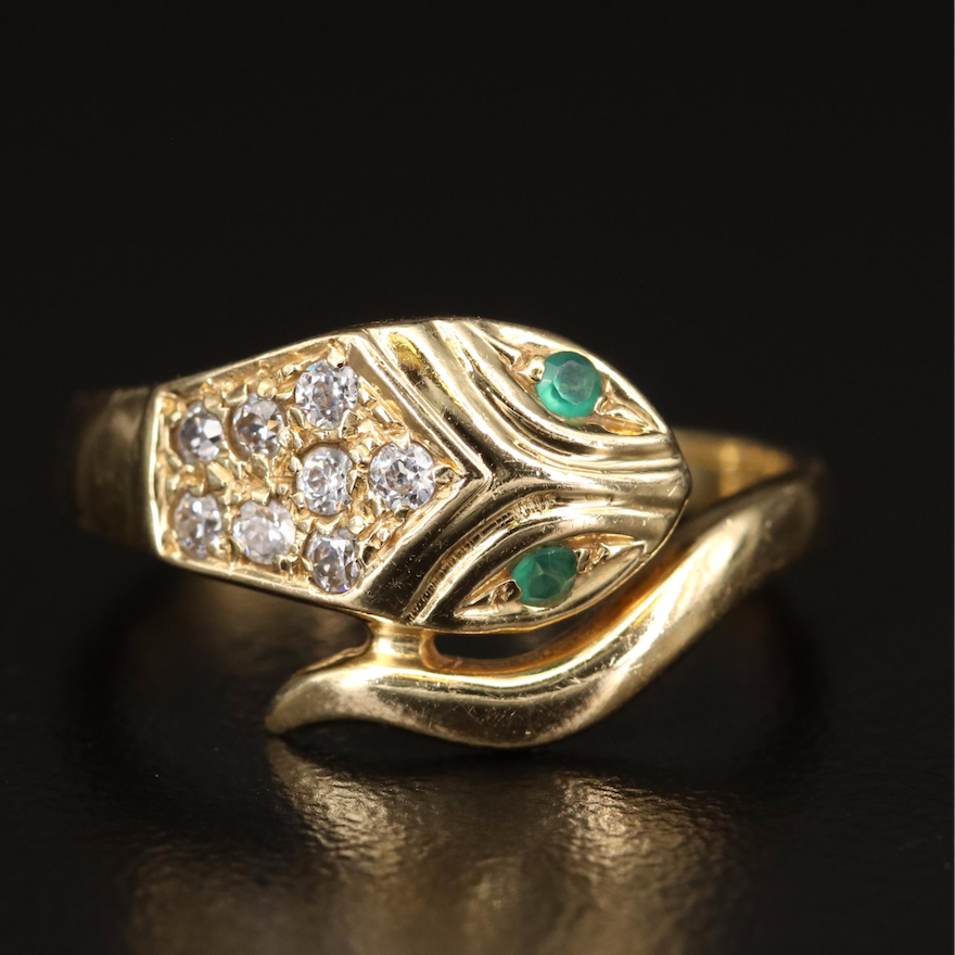 18K Chalcedony and Cubic Zirconia Snake Ring