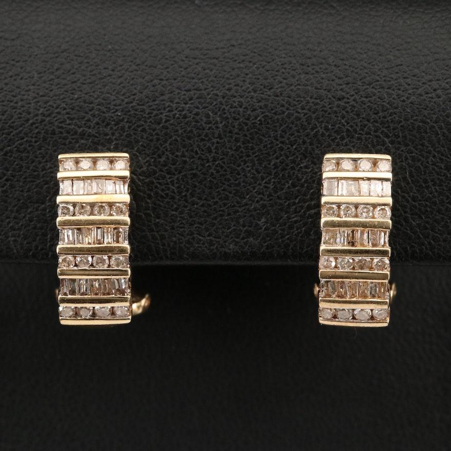 10K 1.00 CTW Diamond J Hoop Earrings