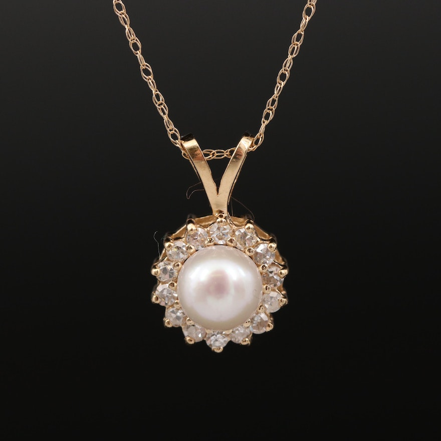 14K Pearl and Diamond Halo Pendant Necklace