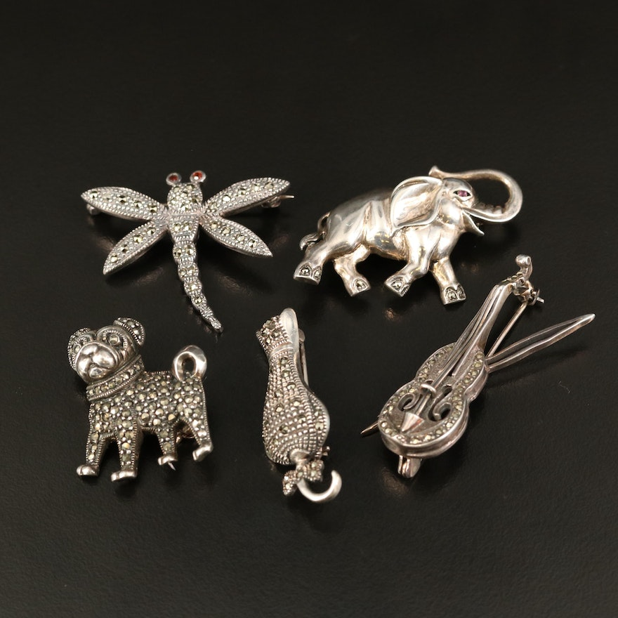 Vintage Sterling Silver Animal Brooches with Marcasite, Ruby and Garnets