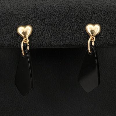 14K Black Onyx Heart Drop Earrings