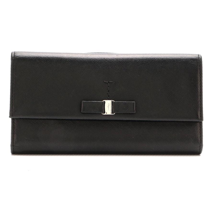 Salvatore Ferragamo Vara Bow Black Saffiano Leather Wallet