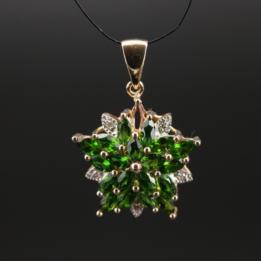 14K Diopside and Diamond Starburst Pendant
