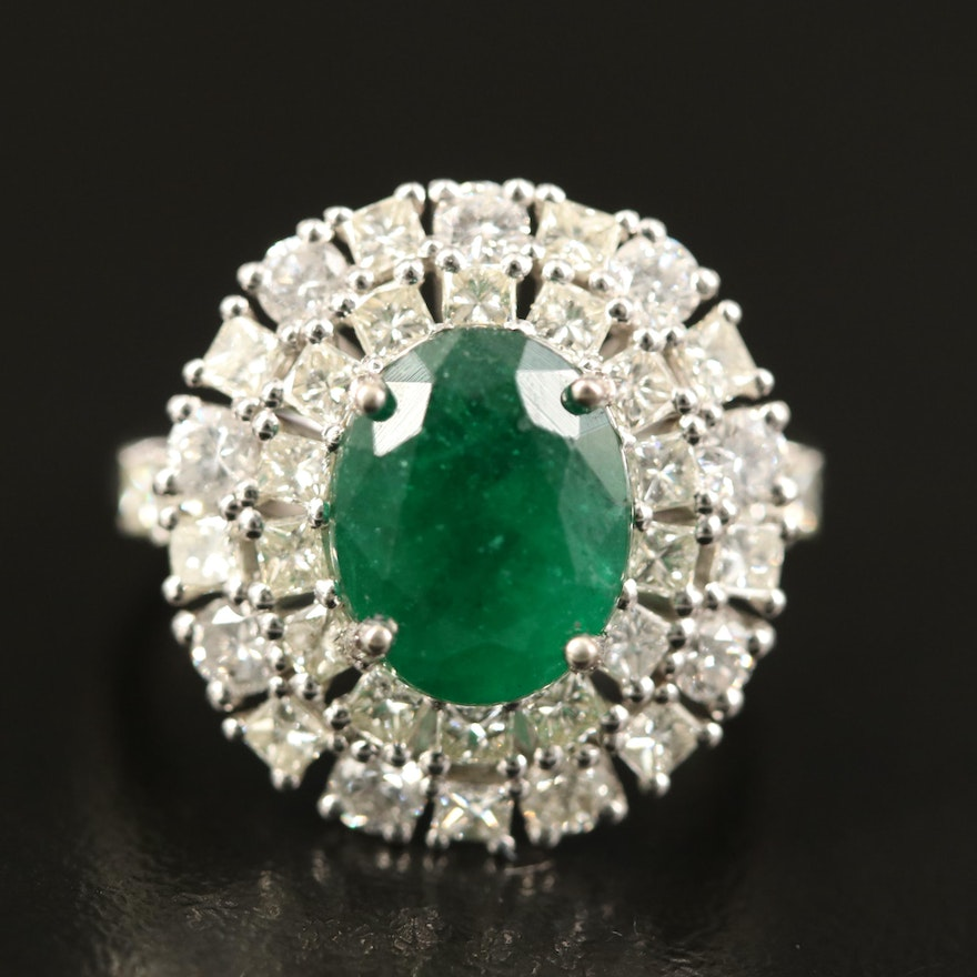 14K 3.10 CT Emerald and 2.21 CTW Diamond Double Halo Ring