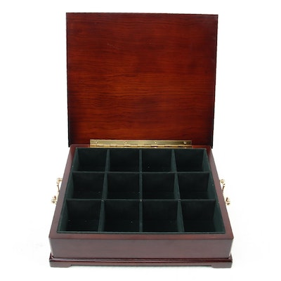 The Bombay Company  Brass Handled Wooden Divided Tea Chest