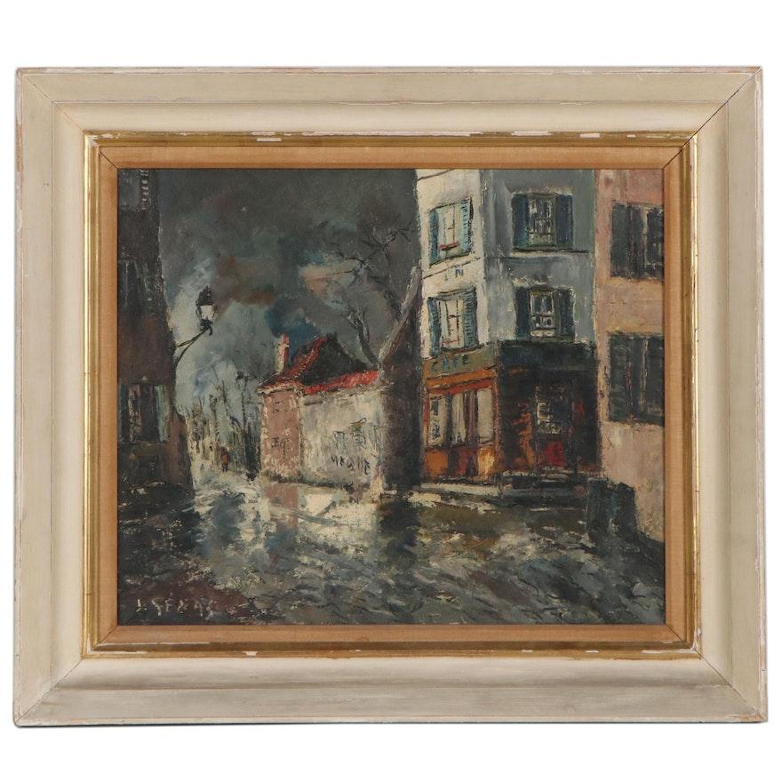 "Expressionist Style Oil Painted Cityscape ""Paris,"" 1959"