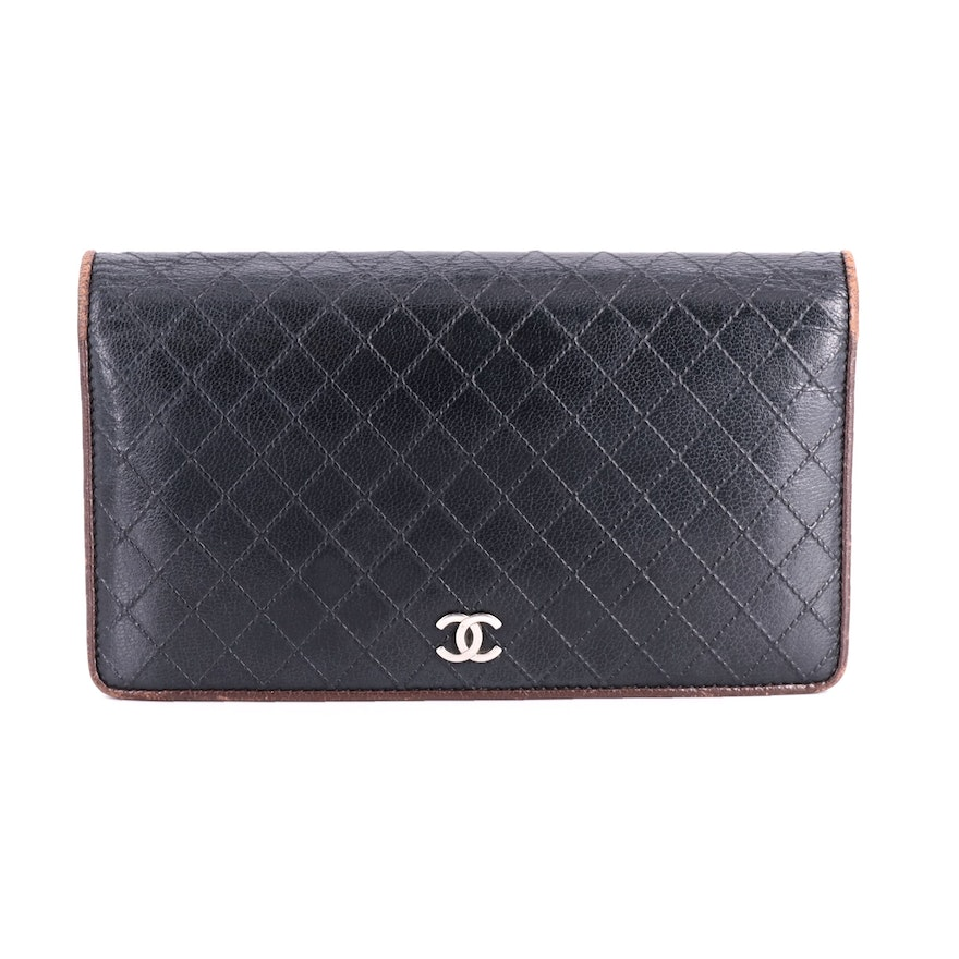 Chanel CC Wild Stitch Black Leather Bifold Wallet with Brown Leather Trim