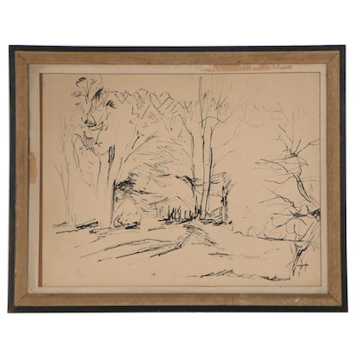 Landscape Ink Drawing, Mid-20th Century