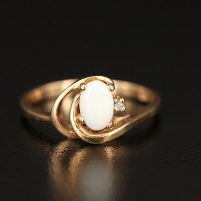 10K Opal and Diamond Ring