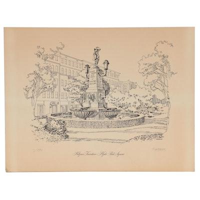 "Lithograph ""Kilgour Fountain - Hyde Park Square"""