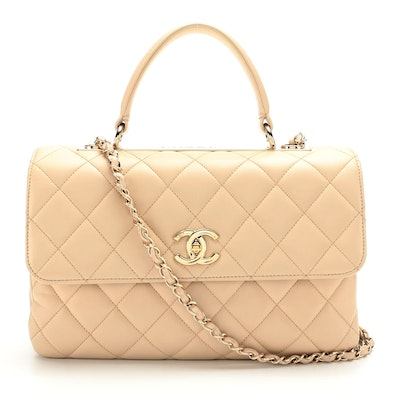 Chanel Small Coco Handle Bag in Beige Quilted Lambskin Leather