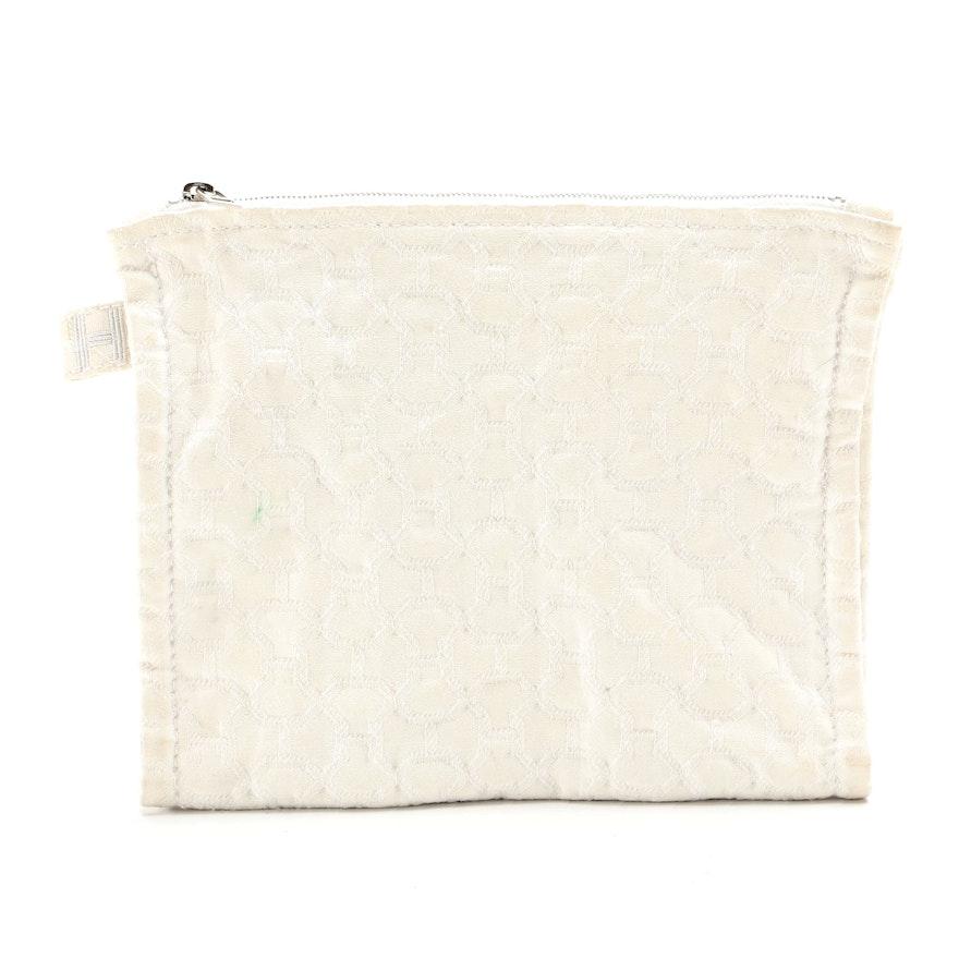 Hermès White Cotton H Print Double-Zip Pouch