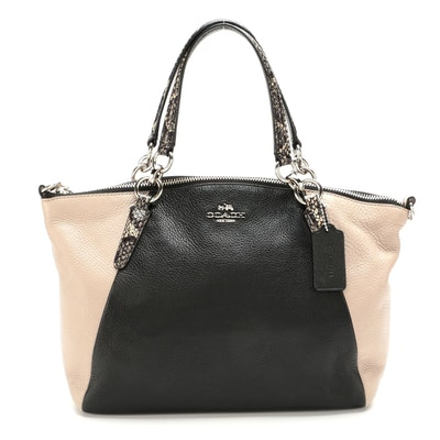 Coach Kelsey Two-Way Satchel in Black and Clay Leather with Snake Embossed Trims