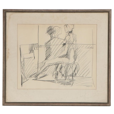 Figural Graphite Drawing, Mid-20th Century