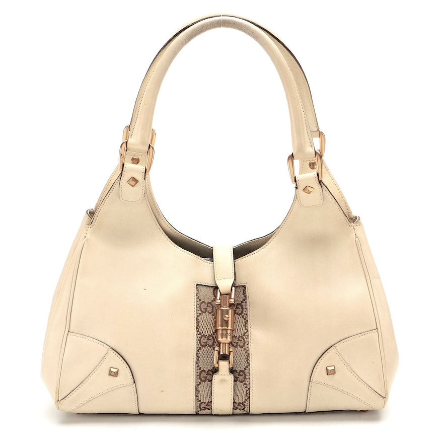 Gucci Bardot Bag in Ivory Leather with GG Canvas Trim