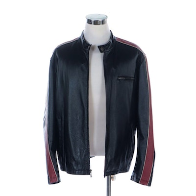 Men's Wilsons Leather Black Leather Zip Jacket with Red Striped Sleeves