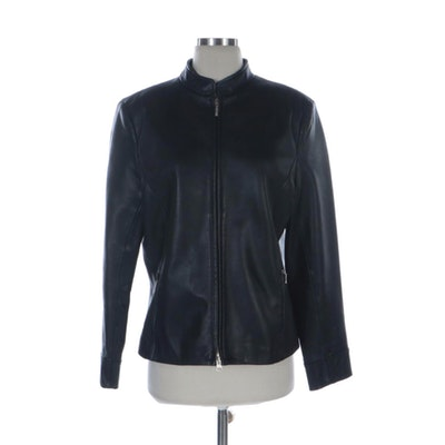 Casual Corner Black Leather Zip Jacket