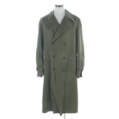 Korean War Era U.S. Army OD-7 Double-Breasted Trench Coat with Wool Liner