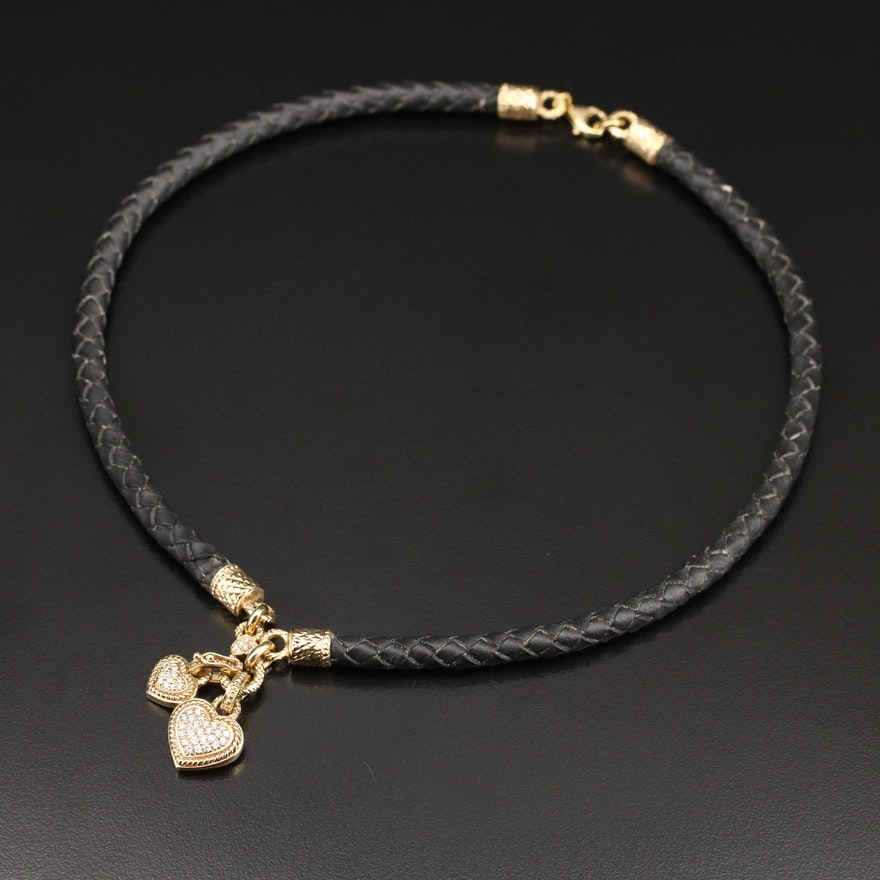 18K Diamond Heart Enhancer Pendant Necklace