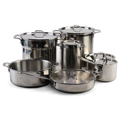 All-Clad Stainless Steel Stockpot, Sauce Pans, Sauté Pans, and Asparagus Steamer