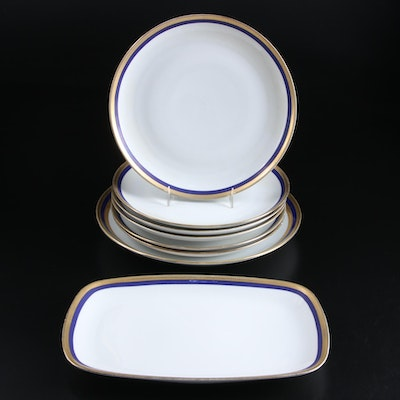 Eschenbach Porcelain Cobalt and Gold Rimmed Tableware, Mid to Late 20th 20th C.