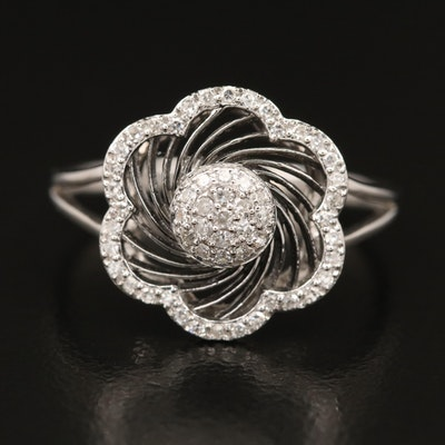 14K Diamond Pinwheel Ring