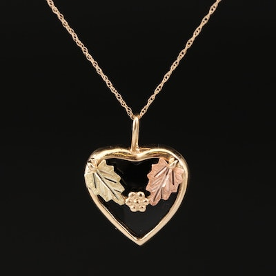 10K and 14K Black Onyx Heart Necklace with Green and Rose Gold Foliate Accents