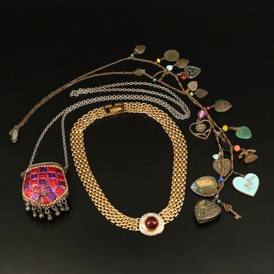 Vintage Glass Works Studio Heart Charm Necklace and Necklace Selection