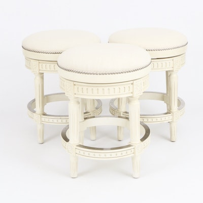 Three Frontgate Louis XVI Style Counter-Height Swivel Barstools