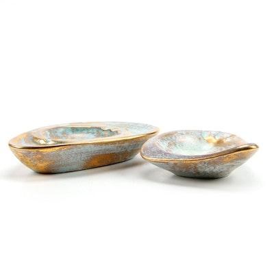 Mid Century Modern Stangl Pottery Antique Gold Ceramic Ashtrays, Vintage