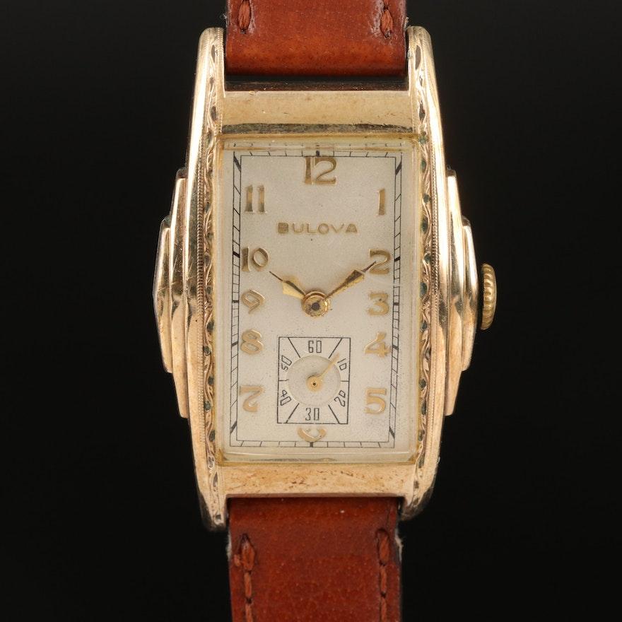 Vintage Bulova 10K Rolled Gold Plate Stem Wind Wristwatch