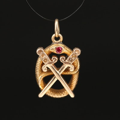 Vintage 14K Ruby and Pearl Snake and Crossed Swords Pendant