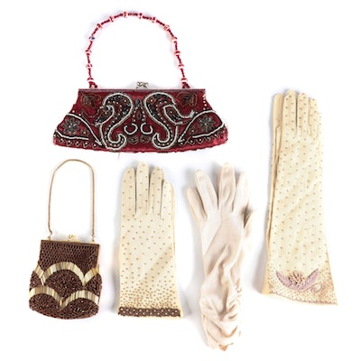 Apt 9, Fownes and Other Beaded and Ruched Purses and Gloves