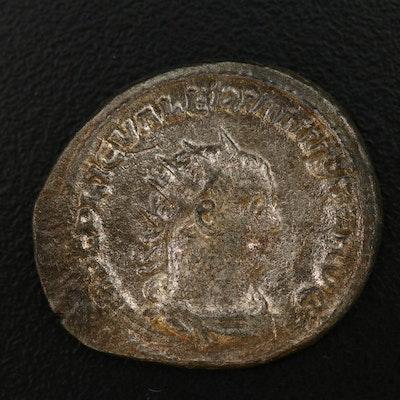 Ancient Roman Imperial AE Antoninianus Coin of Valerian I, ca. 253 AD