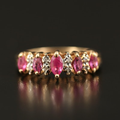 14K Ruby and Diamond Step Ring