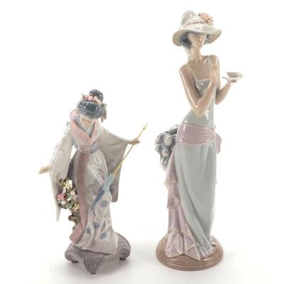 """Retired Lladró  """"Teruko"""" and """"Tea Time"""" Figurines"""