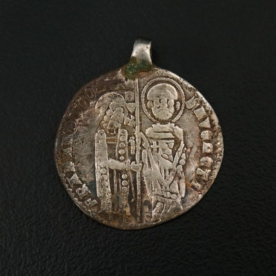 Silver Venetian Grosso Coin, 13th to 14th Century