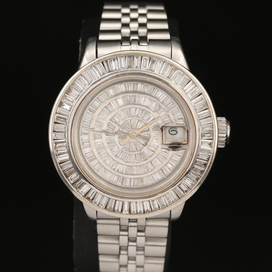 1987 Rolex Date Stainless Steel 3.00 CTW Diamond Automatic Wristwatch