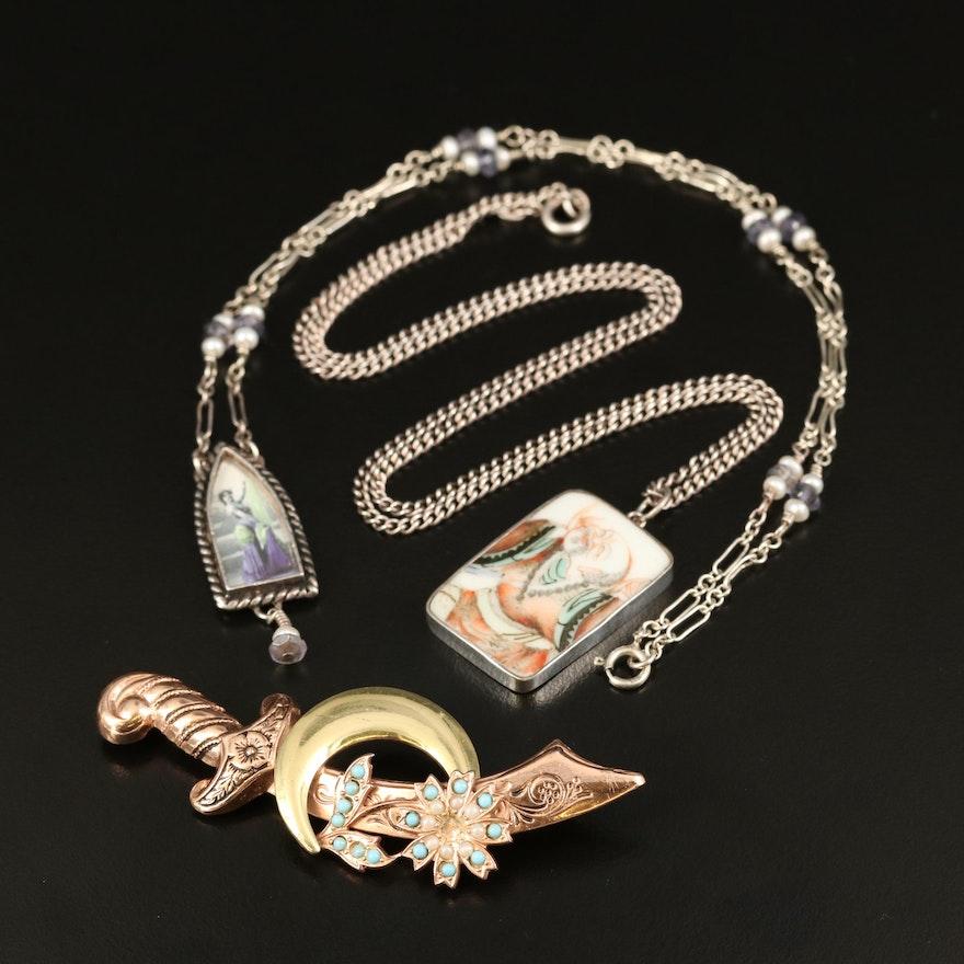1940s Coro Scimitar Sword Brooch and Vintage Necklace Selection