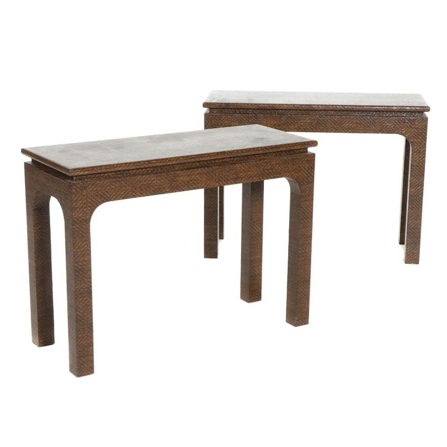 Pair of Harrison Van Horn Woven Lacquered Raffia Console Tables