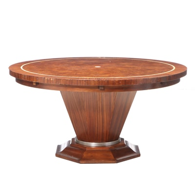 Contemporary Walnut Round Pedestal Dining Table