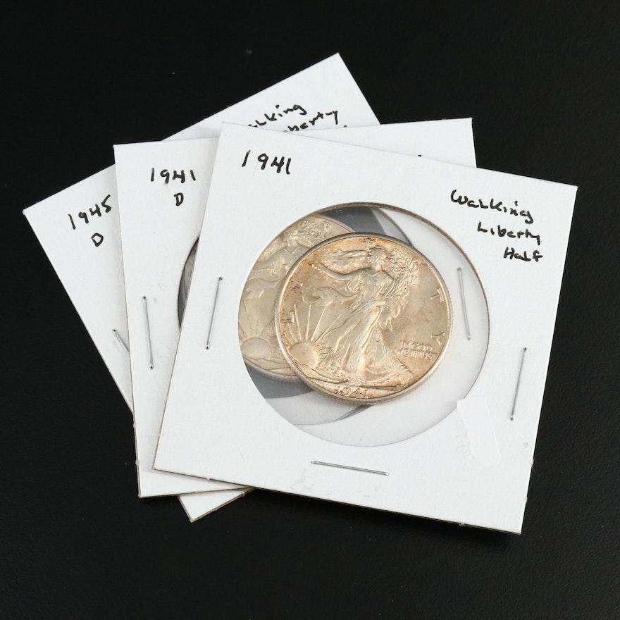Three High Grade Walking Liberty Silver Half Dollars