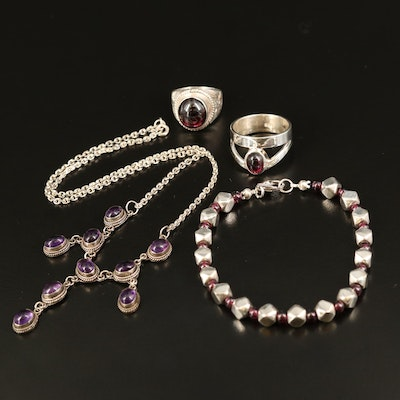 Sterling Necklace, Bracelet and Rings with Amethyst and Rhodolite Garnet