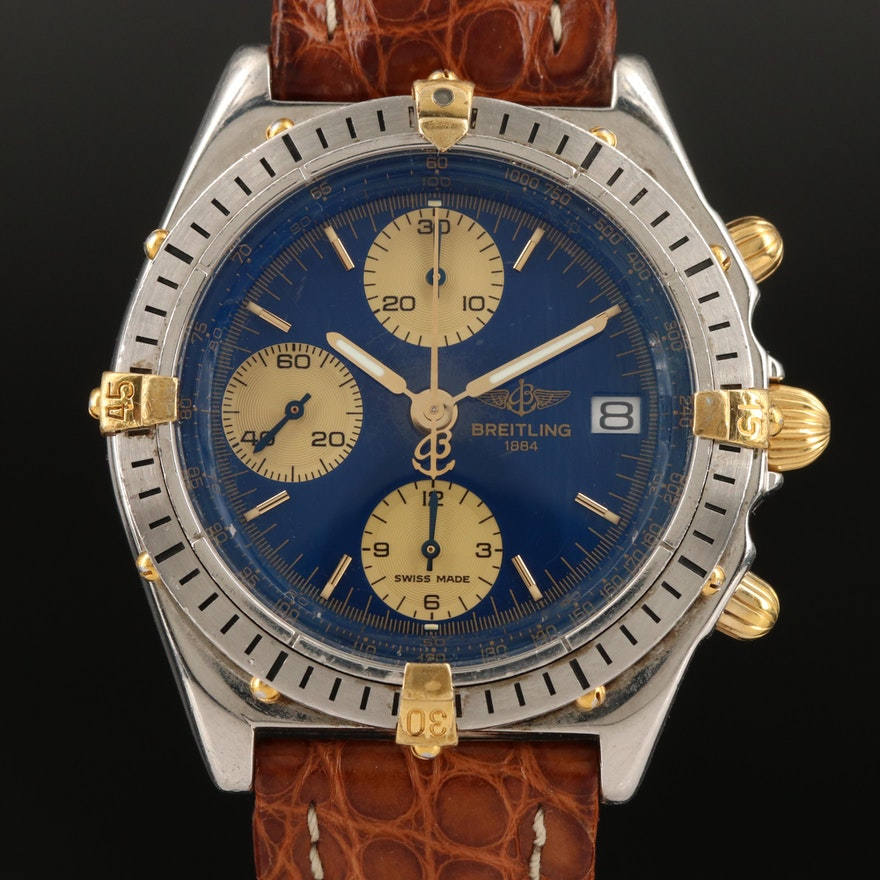 Stainless Steel and 18K Breitling Chronomat Automatic Wristwatch