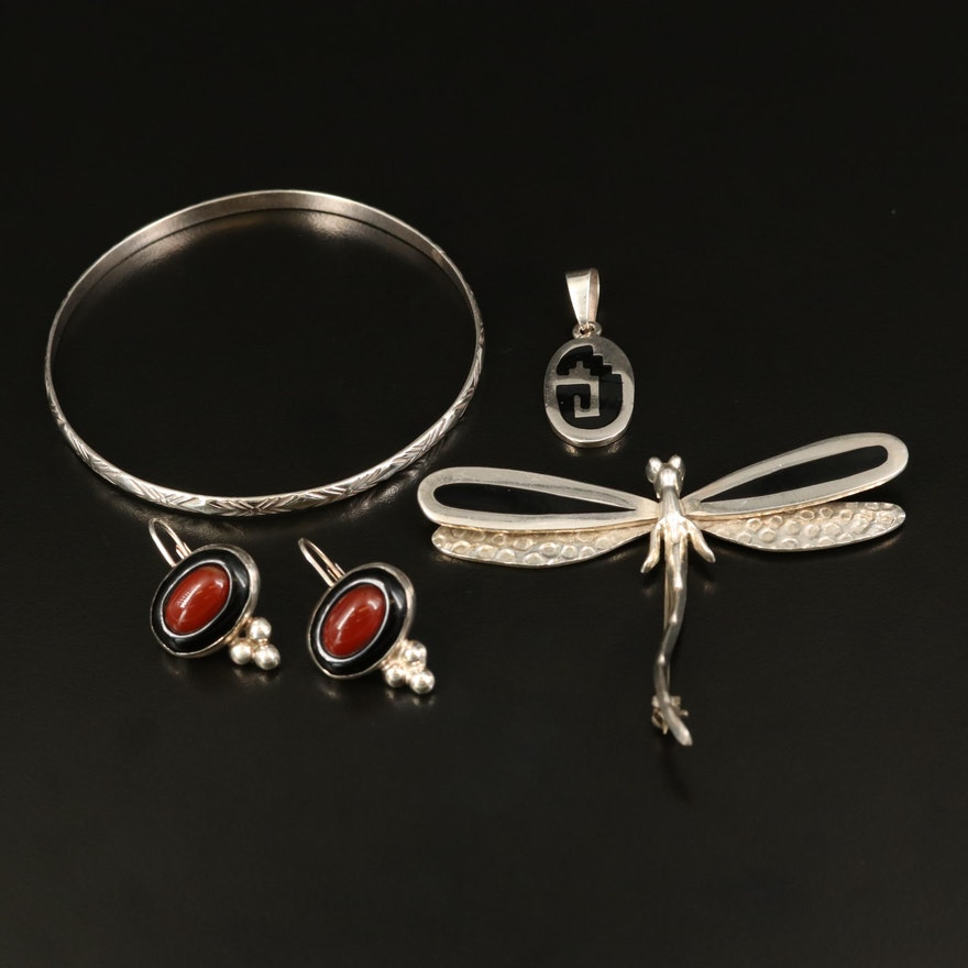 Mexican Sterling Dragonfly Brooch, Carnelian and Black Onyx Jewelry