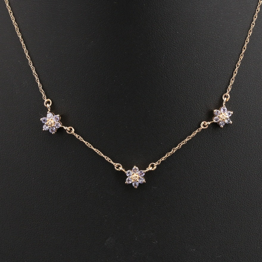 14K Tanzanite and Diamond Floral Station Necklace