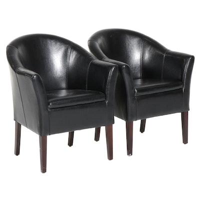 Pair of Arhaus Black Leather Club Chairs