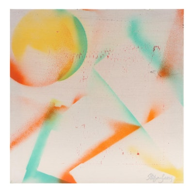 "Stefan Georg Mixed Media Painting ""Mango Moon,"" 2021"